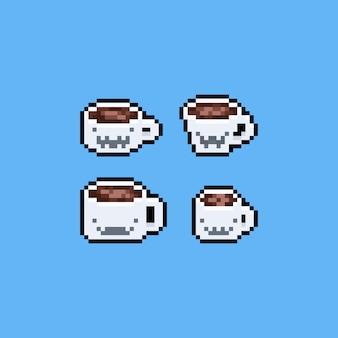 Xícara de café de pixel arte dos desenhos animados com cara de fantasma