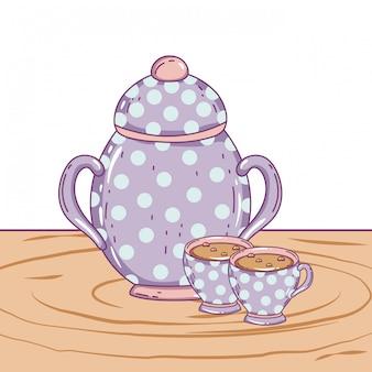 Xícara de café de porcelana e açucareiro