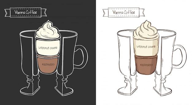 Xícara de café de viena. copo gráfico de informação em um corte