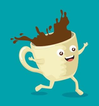 Xícara de café delicioso com rosto