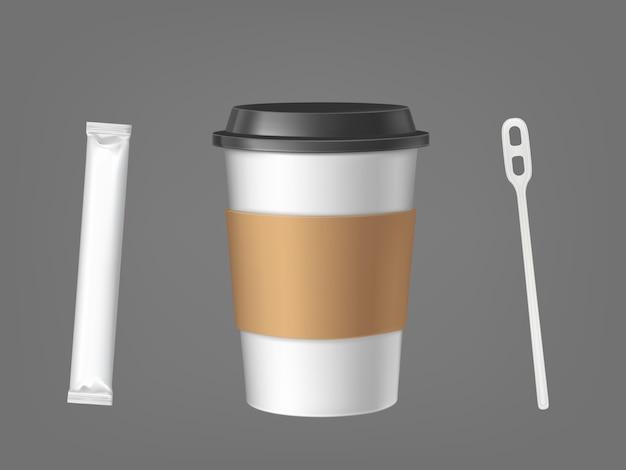 Xícara de café descartável com palito e conjunto de açúcar