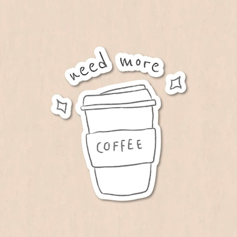 Xícara de café descartável estilo doodle