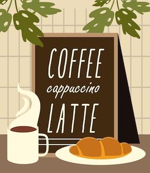 Xícara de café do menu do restaurante e pão na ilustração do prato