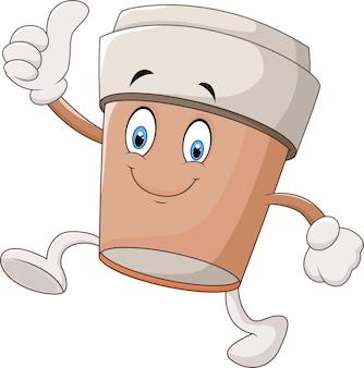 Xícara de café dos desenhos animados que dá os polegares acima