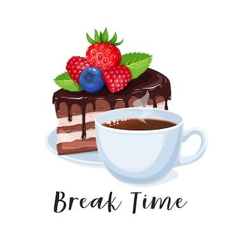 Xícara de café e bolo. banner de pausa para o café com sobremesa de chocolate. conceito de tempo de pausa para design de café.