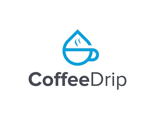 Xícara de café e gotejamento de água simples, elegante, criativo, geométrico, moderno, logotipo, design