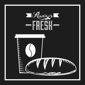 Xícara de café e pão ícone sobre fundo preto