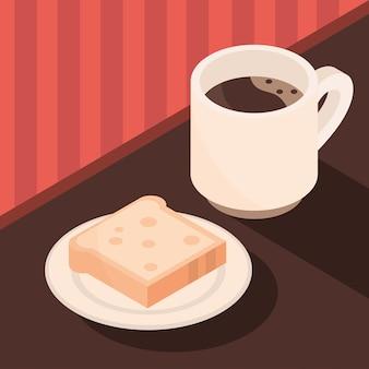 Xícara de café e pão no prato, fermentando a ilustração isométrica do ícone