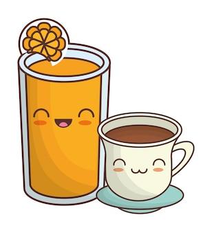 Xícara de café e suco de laranja imagem ícone kawaii