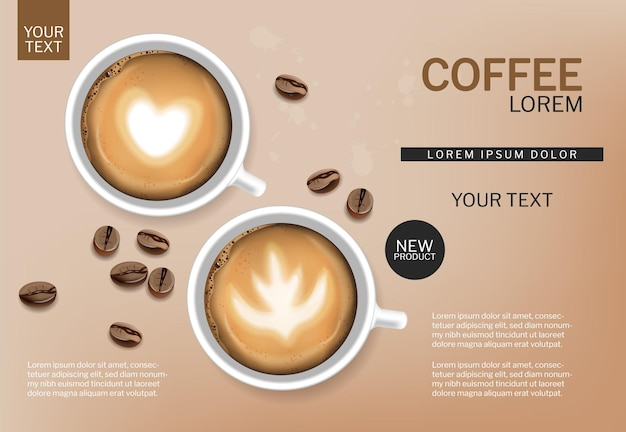Xícara de café e vetor de feijão realista. copos brancos com espuma. simulações de colocação de produto
