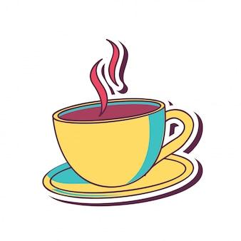 Xícara de café em amarelo