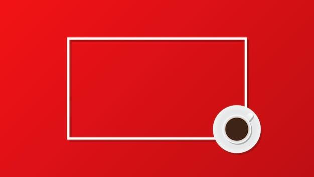 Xícara de café em fundo vermelho vista de cima plana cópia espaço moldura ilustração vetorial