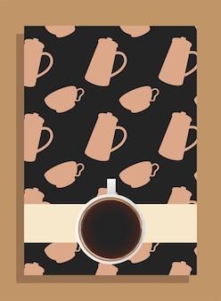 Xícara de café em pôster preto com tema de potes e xícaras