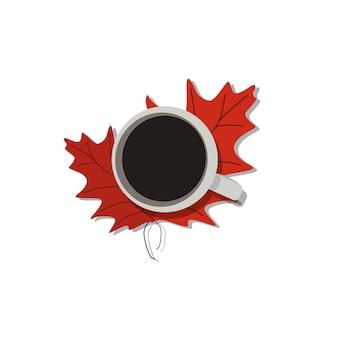 Xícara de café em uma ilustração em vetor outono folha isolada. conceito de queda. de manhã. modelo de design.