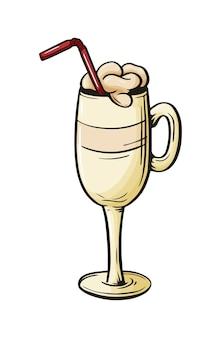 Xícara de café; esboço desenhado à mão em copo de café com leite