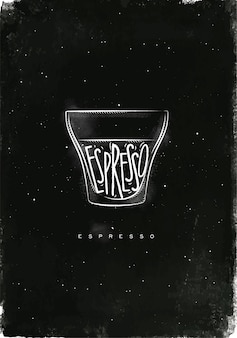 Xícara de café expresso com letras de café expresso em estilo gráfico vintage, desenhando com giz no fundo do quadro-negro