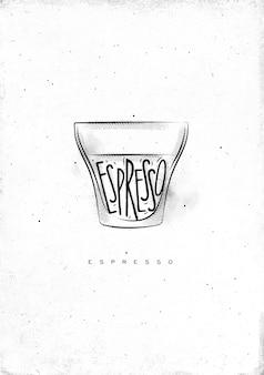 Xícara de café expresso com letras de expresso em estilo gráfico vintage, desenhado em fundo de papel sujo