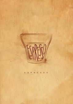 Xícara de café expresso com letras expresso em estilo gráfico vintage, desenho com artesanato