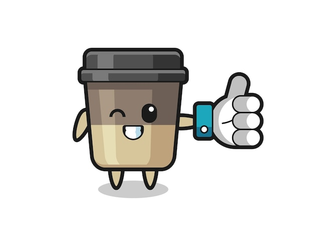 Xícara de café fofa com símbolo de polegar para cima de mídia social, design de estilo fofo para camiseta, adesivo, elemento de logotipo