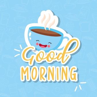 Xícara de café fofa e engraçada sorrindo