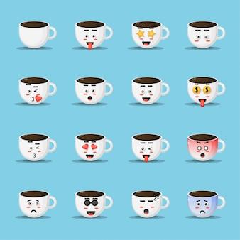 Xícara de café fofo com expressão