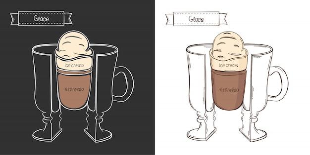 Xícara de café glace. copo gráfico de informação em um corte