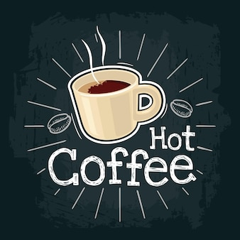 Xícara de café ilustração em vetor cor plana para rótulo de pôster e menu café fast food