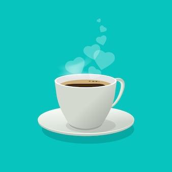 Xícara de café ou caneca com corações de amor como um fumo ou vapor no apartamento dos desenhos animados