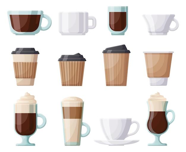 Xícara de café para bebidas quentes, xícaras de café de cerâmica, plástico, papel. canecas de café quentes, café, restaurante ou café para viagem conjunto de ilustração vetorial. copo de café de papel e vidro. café quente em caneca de plástico
