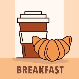 Xícara de café para viagem e croissant em estilo linear