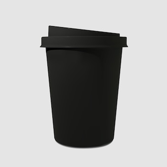 Xícara de café preta realista de papel. canecas de café. copo descartável para bebidas.