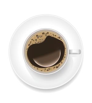 Xícara de café preto realista