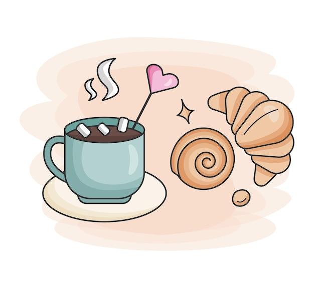 Xícara de café quente croissant e pão fresco ícone de comida para bares, restaurantes e lojas