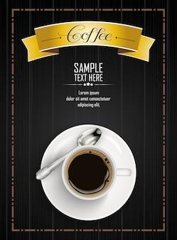 Xícara de café realista com fita amarela