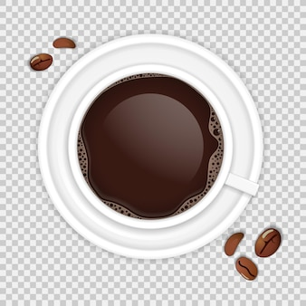 Xícara de café realista de vista superior com grãos isolados em fundo transparente