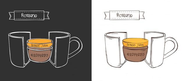 Xícara de café romano. copo gráfico de informação em um corte