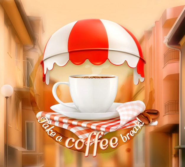 Xícara de café, um convite para uma xícara de café, tempo para uma pausa, café da manhã