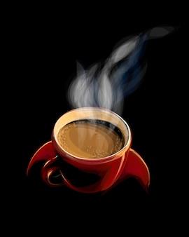 Xícara de café vermelha com fumaça em um fundo preto. ilustração de tintas