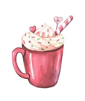 Xícara de café vermelha de natal em aquarela.