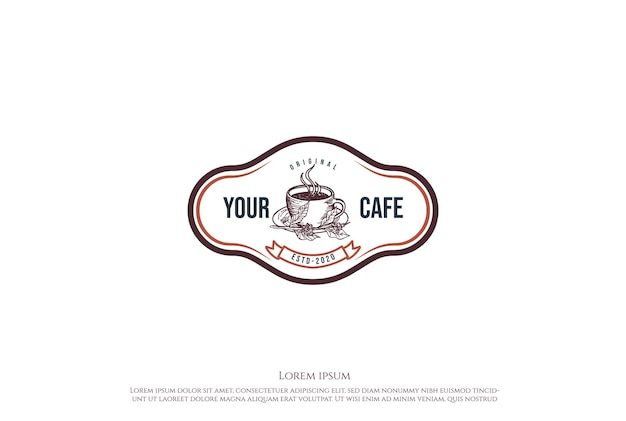 Xícara de café vintage retrô para restaurante de café ou vetor de design de logotipo de rótulo de produto