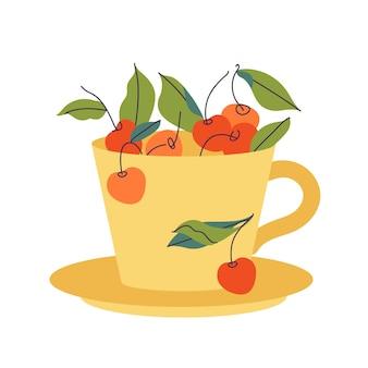 Xícara de chá amarela de ilustração vetorial cheia de cerejas e folhas em fundo branco