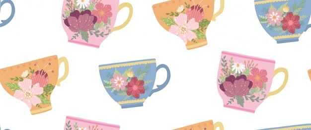 Xícara de chá bonita com flor e folhas padrão sem emenda. caneca elegante vector.