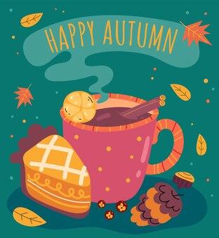 Xícara de chá, café, chocolate quente com torta outono café da manhã simples ilustração plana