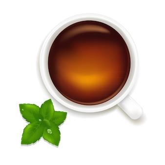 Xícara de chá com ilustração de hortelã isolada