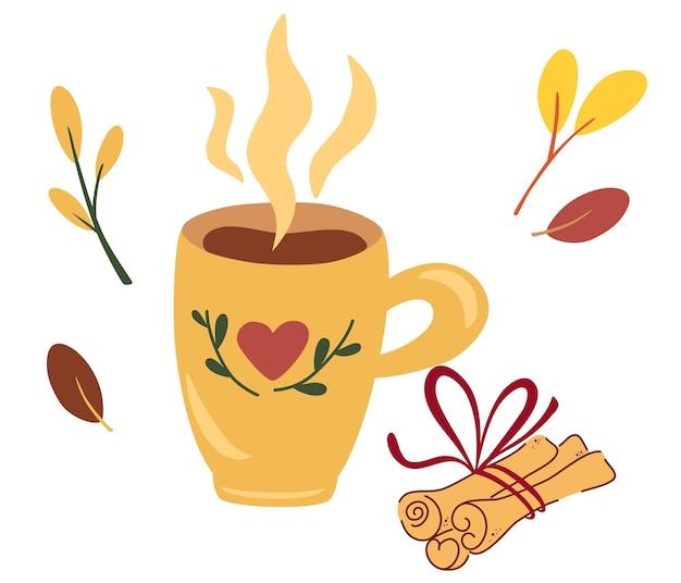 Xícara de chá com paus de canela. humor de outono. bebida quente, café ou cacau com canela.