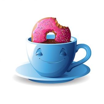 Xícara de chá com um donut.