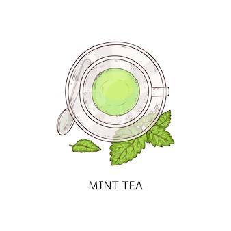 Xícara de chá de ervas com sabor de hortelã e folhas verdes