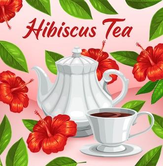 Xícara de chá de flor de hibisco, bebida com sabor de ervas