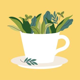 Xícara de chá de ilustração vetorial cheia de folhas verdes em fundo amarelo