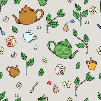 Xícara de chá de jasmim e folhas desenhando um padrão uniforme